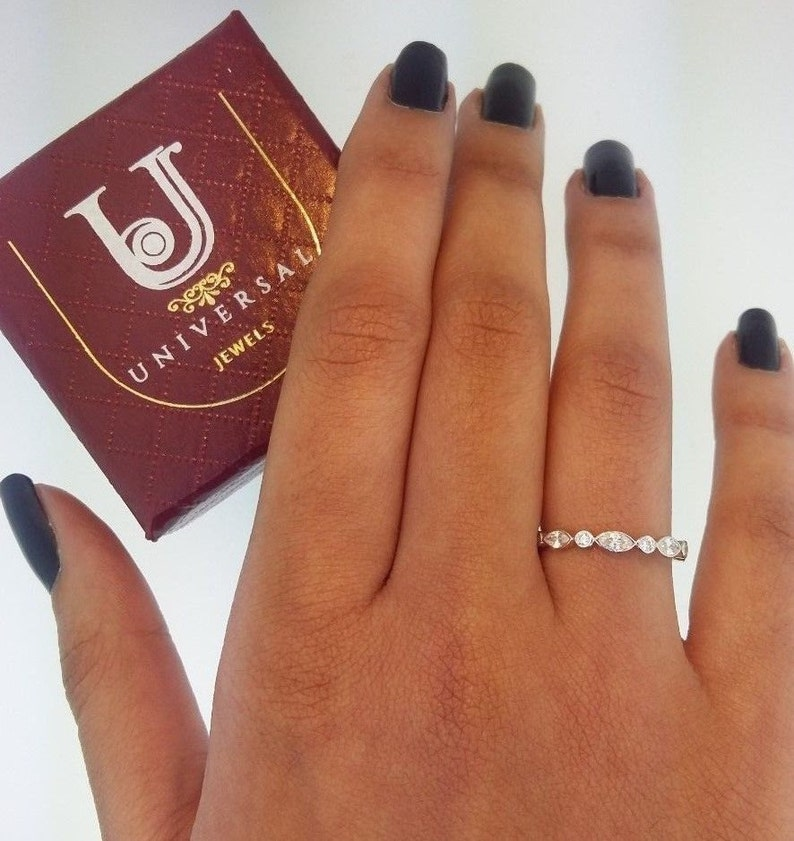 14k Solid Yellow Gold Eternity Band Stackable Ring Endless image 0