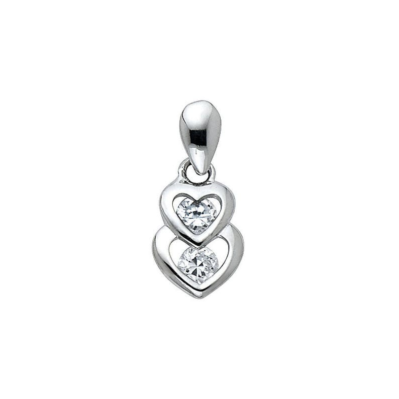 14K Solid White Gold Connected Love Double Two Hearts Round Cut CZ Ladies Pendant Charm 0.5 Grams