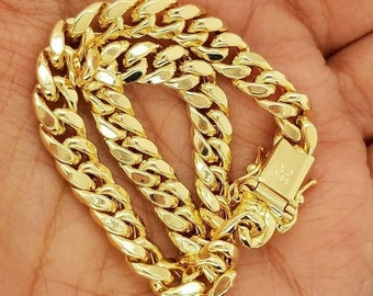 14K Yellow Gold Cuban Link Bracelet Anklet 8 Inches 6MM Thick For Men/Women 11.4 grams Hollow