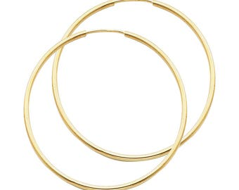 14k Solid Yellow Gold 2MM Thick Lightweight Large Big Classic Endless Hoop Earrings 1.3 Inches 35MM
