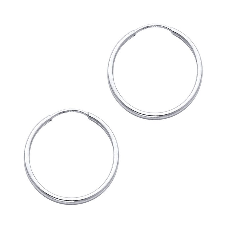 19d3d1cbe81f5 14k Solid White Gold 1.5 MM Thick Lightweight Classic Endless Hoop Earrings  0.7 Inches 20MM