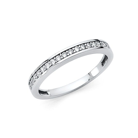 14k Solid White Gold Wedding Band 0.50 ct Round Cut Channel Set Classic Ring