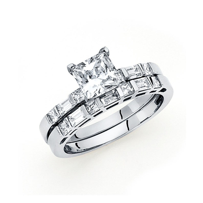 7511a74e23451 1.5 CT Princess Cut Diamond Engagement Wedding Ring Set 14k Solid White  Gold Cubic Zirconia Bridal Ring Set With Wedding Band