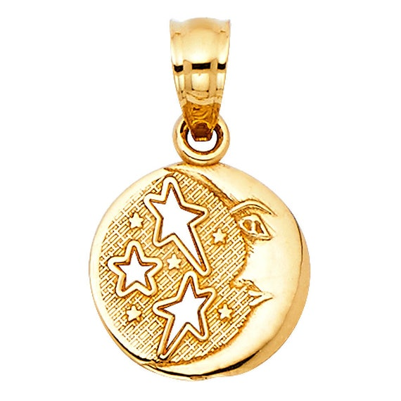 14K YELLOW GOLD POLISHED HOLLOW 3-D MOON CHARM PENDANT  0.8 INCH