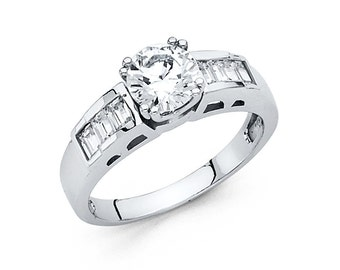 14k Solid White Gold Engagement Ring 2.0 Ct Diamond Solitaire with Baguette side stones