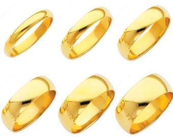 14K Solid Yellow Gold Plain Wedding Band Ring For Men Women 3MM 4MM 5MM 6MM