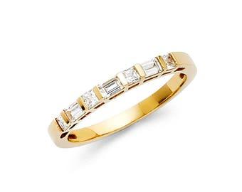 14k Solid Yellow Gold 0.50 Ct Princess Cut Baguette Cubic Zirconia Diamond Wedding Band Anniversary Ring