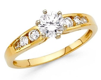 Solid 14k Yellow Gold 1.5 ct.Diamond Solitaire Engagement Ring with round side stones