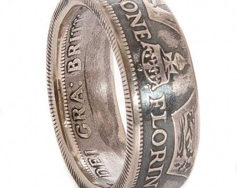 British Silver Florin Coin Ring