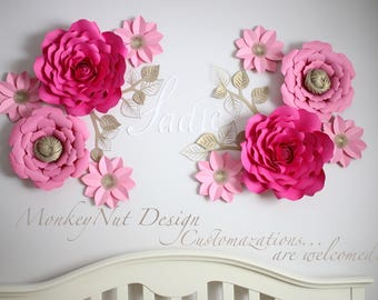 Pink paper flowers etsy large paper flowerslarge paper flower backdropwall flowerspink paper flowersnursery paper flowersnursery decorpaper flowersbedroom mightylinksfo