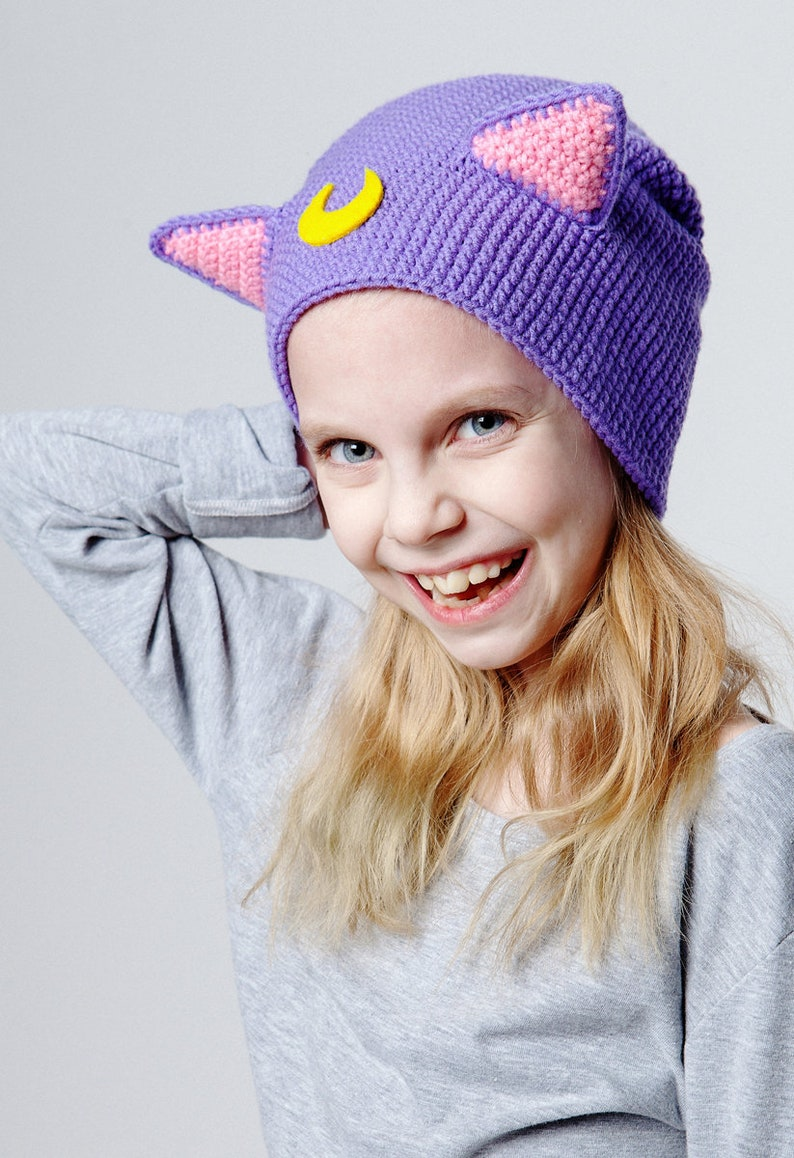 9d62e8bbf81 Luna inspired Sailor Moon cat Hat Crochet Beanie