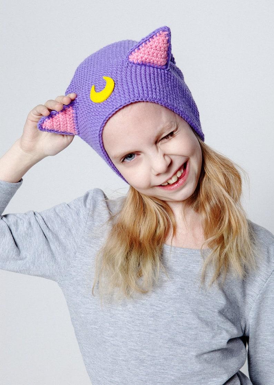 233a6d6883e Luna inspired Sailor Moon cat Hat Crochet Beanie
