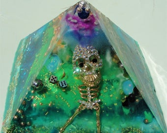 "Dancing Skeleton Glow in the Dark Orgone Pyramid 5 x 3.5"" Metaphysical (125 x 90mm)  Crystal Energy Chakras"
