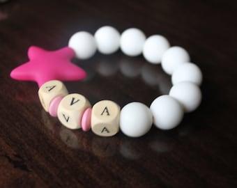 personalized baby bracelet, name bracelet, baby bracelet, gift under 10, teething bracelet, girl bracelet, baby girl, baby ID bracelet