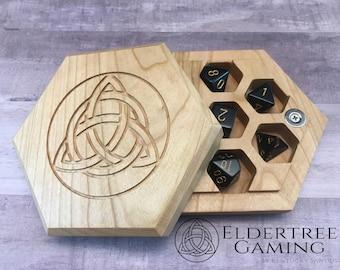 Premium Dice Vault - Hexagon Shape - Cherry - Eldertree Gaming