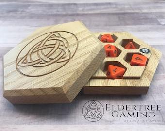 Premium Dice Vault - Hexagon Shape - Red Oak - Eldertree Gaming