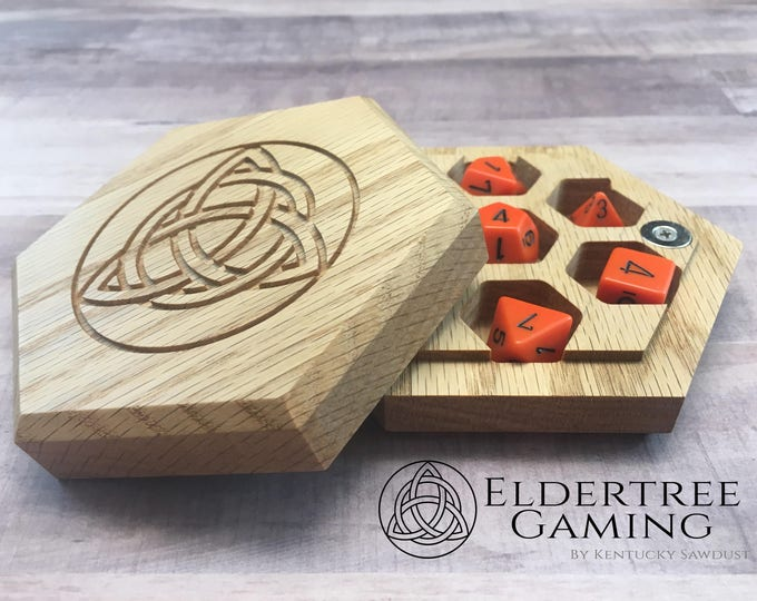 Premium Dice Vault - Hexagon Shape - Red Oak - Eldertree Gaming