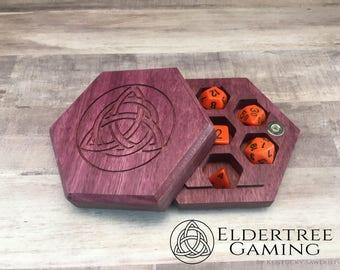 Premium Dice Vault - Hexagon Shape - Purpleheart - Eldertree Gaming