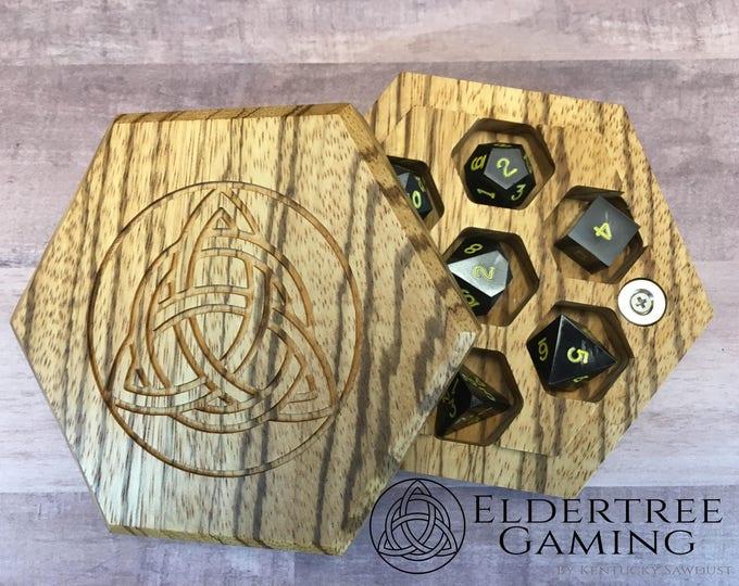 Premium Dice Vault - Hexagon Shape - Zebrawood - Eldertree Gaming