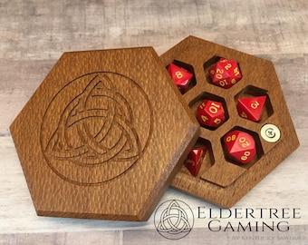 Premium Dice Vault - Hexagon Shape - Lacewood - Eldertree Gaming