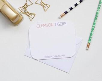 Personalized Stationery, Clemson Stationery, Clemson Tigers, Collegiate Stationery, College Stationery, Custom Stationery, Flat Notecards