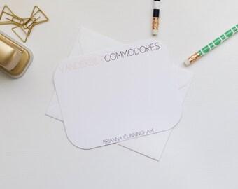 Personalized Stationery, Vanderbilt Stationery, Collegiate Stationery, College Stationery, Custom Stationery, Flat Notecards