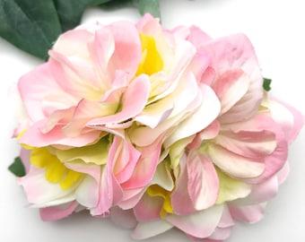Handmade Tillie Pink White Hydrangea & Blossom Hair Flower Clip / Corsage