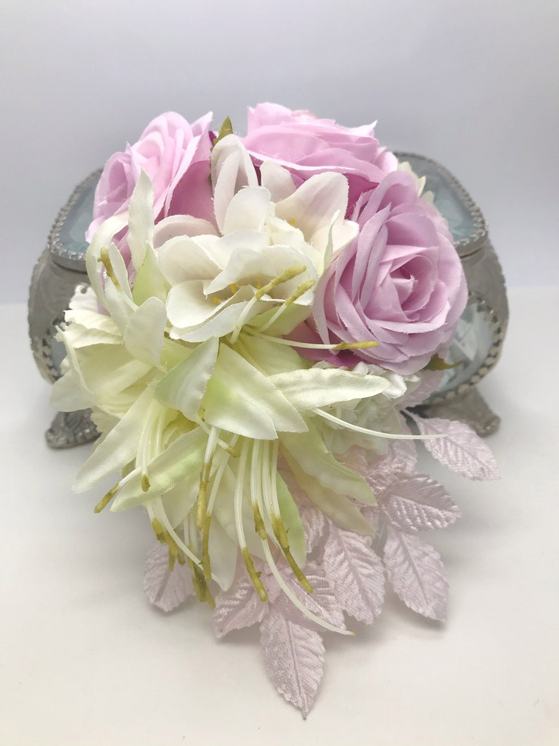 Miss Bella/'s Blooms Vintage inspired Pink Rose Nerine /& Freesia Flower Clip  Corsage 1940s 1950s