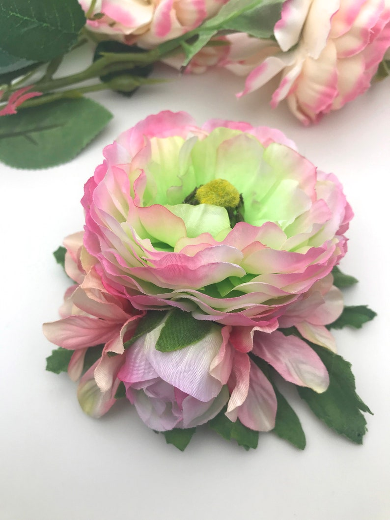 1940s Hair Accessories- Flowers, Snoods, Clips, Wigs, Bandannas Handmade Beautiful Pink Green Ranunculus Hydrangea Hair Flower Clip / Small Corsage $11.79 AT vintagedancer.com