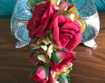 Miss Bella's Blooms Handmade Vintage Inspired Red Rose & Blossom Flower Clip / Corsage 1940s 1950s