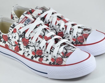 9f7c7c45d96a Roses custom converse red rose custom shoes gift floral flower