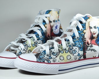 d488c49ae4d014 Harley Quinn custom shoes   Suicide Squad inspired custom Converse  personalized gift