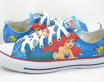 7deea2fdcc89 The Little Mermaid custom low top converse   custom shoes   ariel flounder
