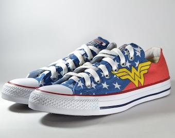 f00dad09f72a Wonder woman inspired custom converse   superhero custom shoes