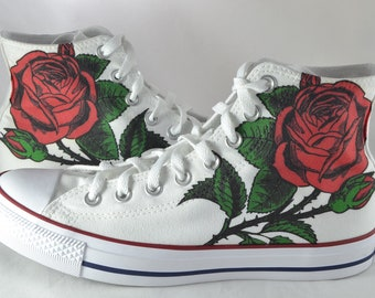 new concept cf966 d585f Rose custom converse customized floral shoes personalized flower gift