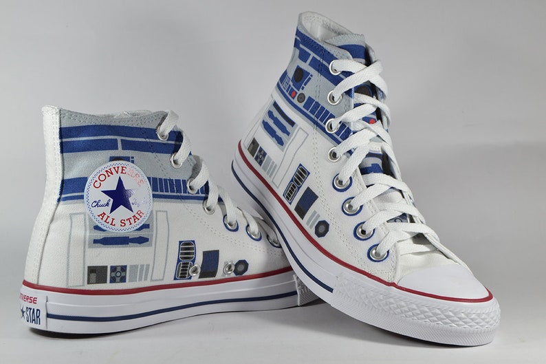 54af0d0a086c4 R2 D2 fan art inspired custom converse shoes star wars r2d2 gift  personalized birthday gift sneaker