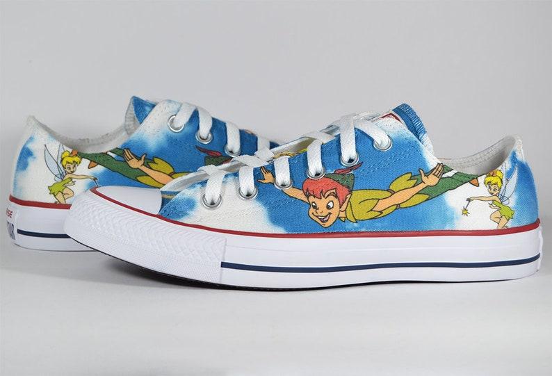 e04887c83250 Peter Pan inspired custom Converse shoes neverland tinker bell