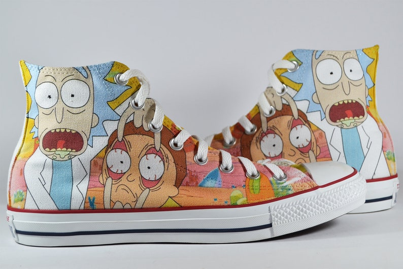 f56ba863c2467 Rick and Morty inspired Custom Converse shoes cartoon personalized  customized fan art gift birthday gift sneaker