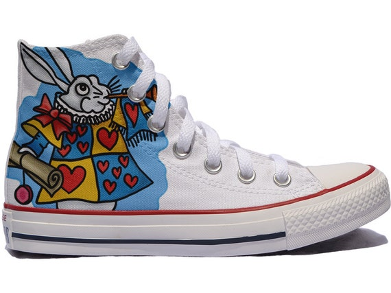 Alice in wonderland custom shoes converse personalized gift queen of hearts off with their heads fairy rabbit