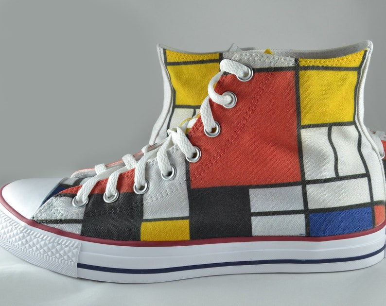 111d1068b436 Mondrian inspired custom converse shoes art gift personalized