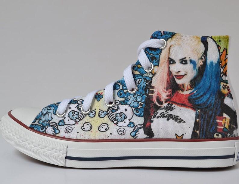 b02a13f08d6f Harley Quinn custom shoes   Suicide Squad inspired custom
