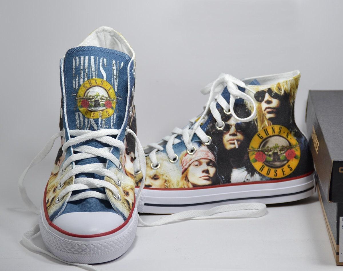 dd35a91d58f7c Guns N' Roses converse custom sneakers fan art print shoes personalized gift