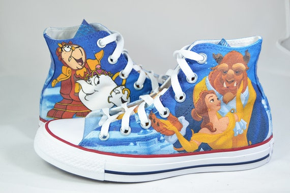 Beauty and the beast custom shoes personalized movie inspired converse sneakers gift