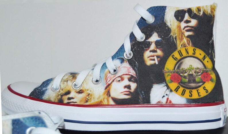 9f38fc0010698 Guns N' Roses converse custom sneakers fan art print shoes personalized gift