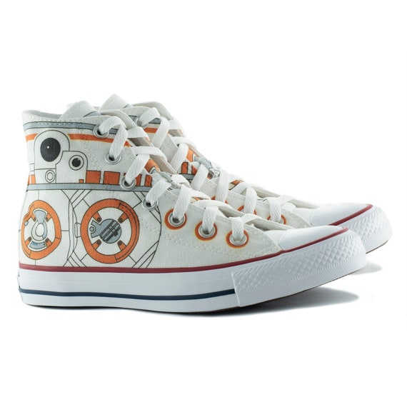 BB8 star wars inspired fan art custom converse custom shoes personalized tennis
