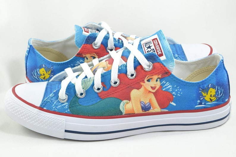 c2ea68ebb253 The Little Mermaid custom low top converse   custom shoes