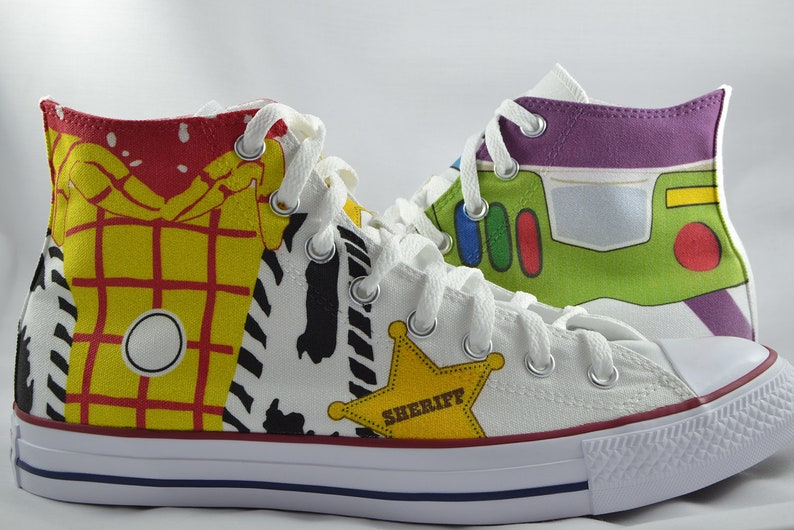 87e2b710ee725 Toy Story inspired custom converse Buzz Lightyear Woody custom shoes  personalized high top gift
