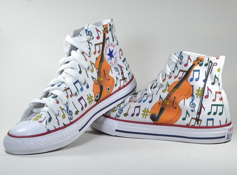 3baee474d929 Violin music notes shoes custom made converse personalized