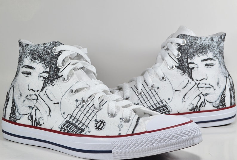 d6689a23b9db0b Jimi Hendrix drawing custom converse custom shoes fender