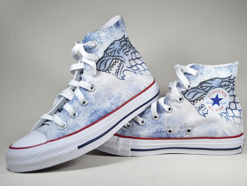 6c5f5198b4594 Game Of Thrones inspired custom converse shoes personalized got gift house  stark winter is coming